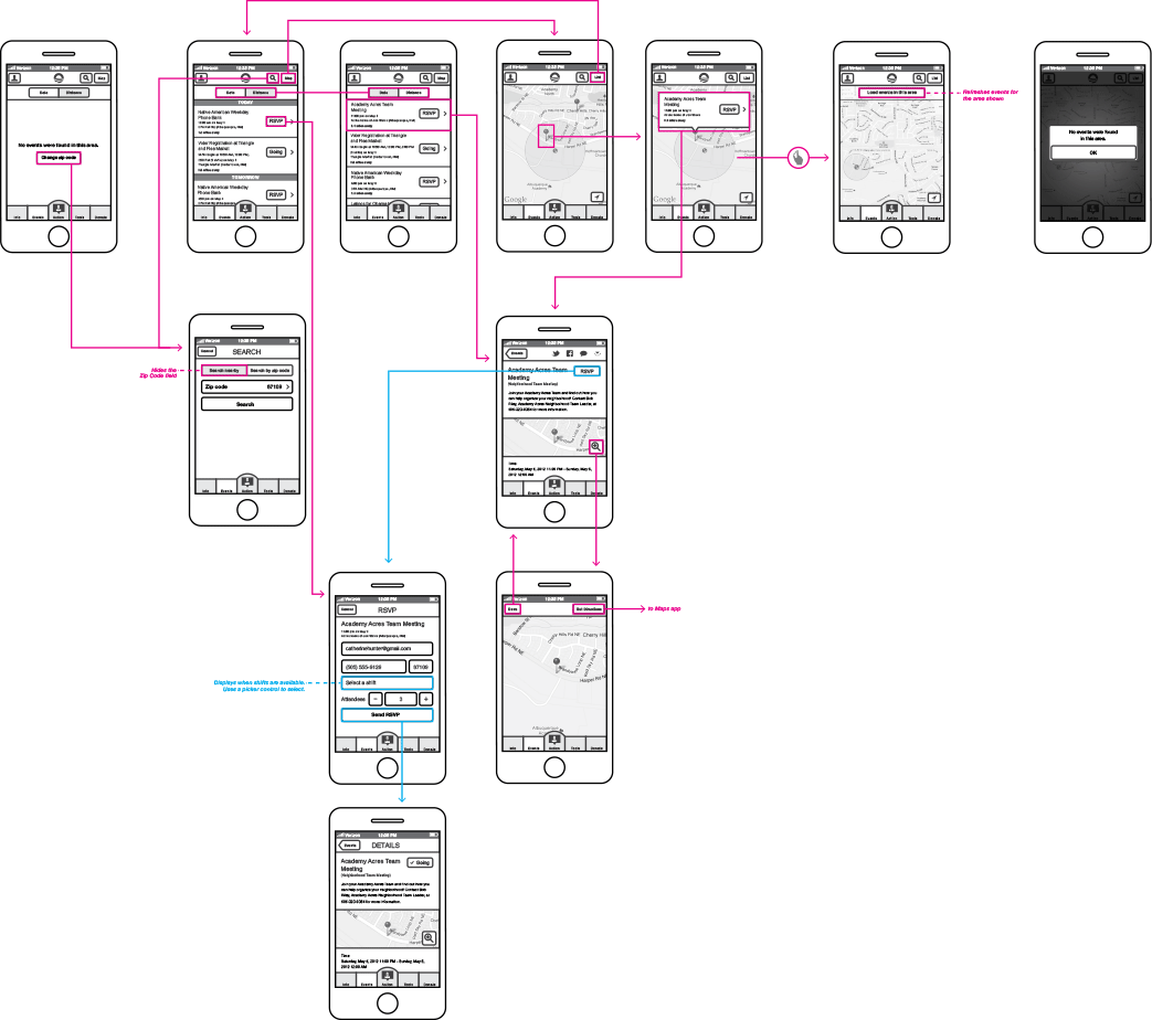 Wireframes for the events section of the app