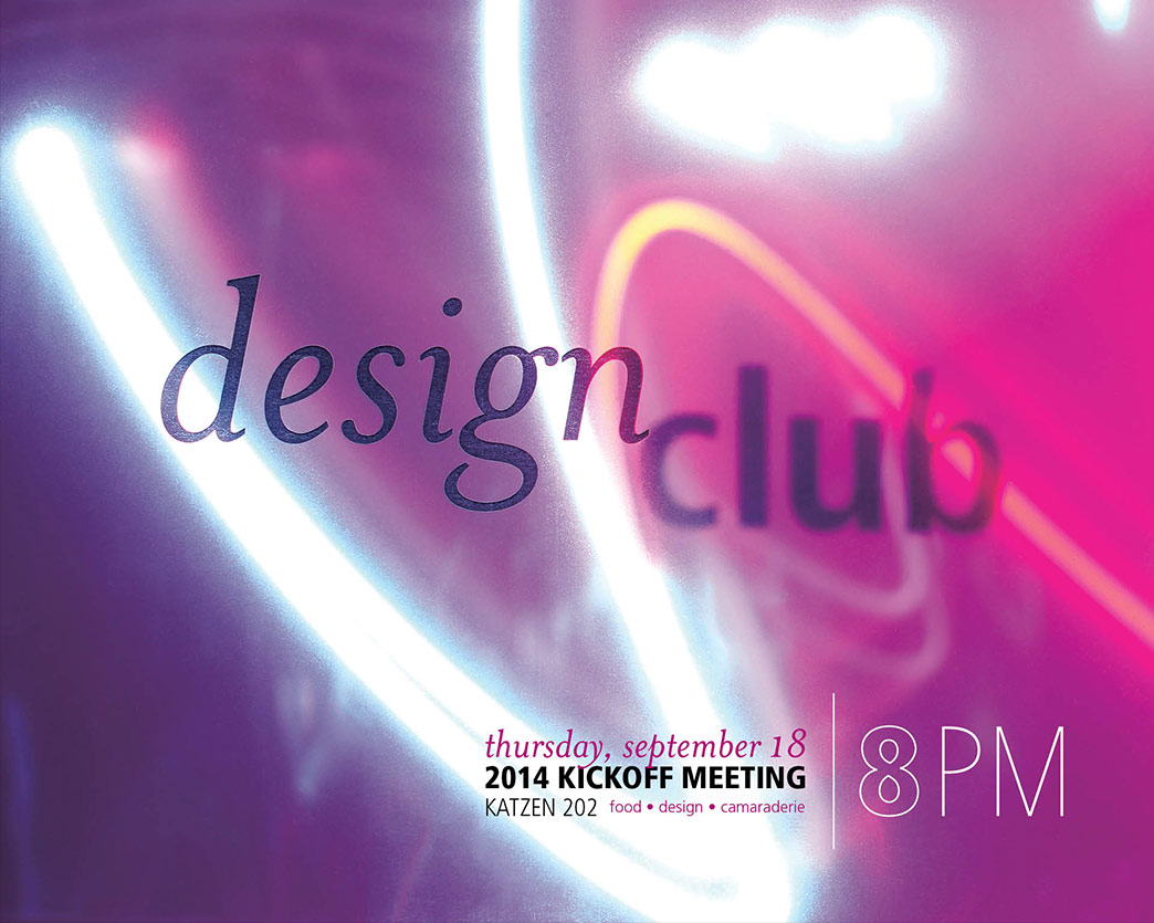First club poster, pink with aqua and red streaks of light in the background, with text Design Club and event information below