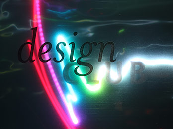 Photo of Design Club text with zigzagged rainbow lights in background